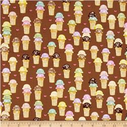 Riley Blake Designer Novelty Ice cream Brown