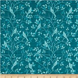 Songbird Tonal Birds & Leaves Teal Aqua