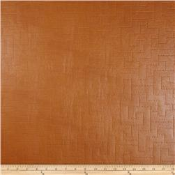 Richloom Faux Leather Greek Key Koronis Cognac