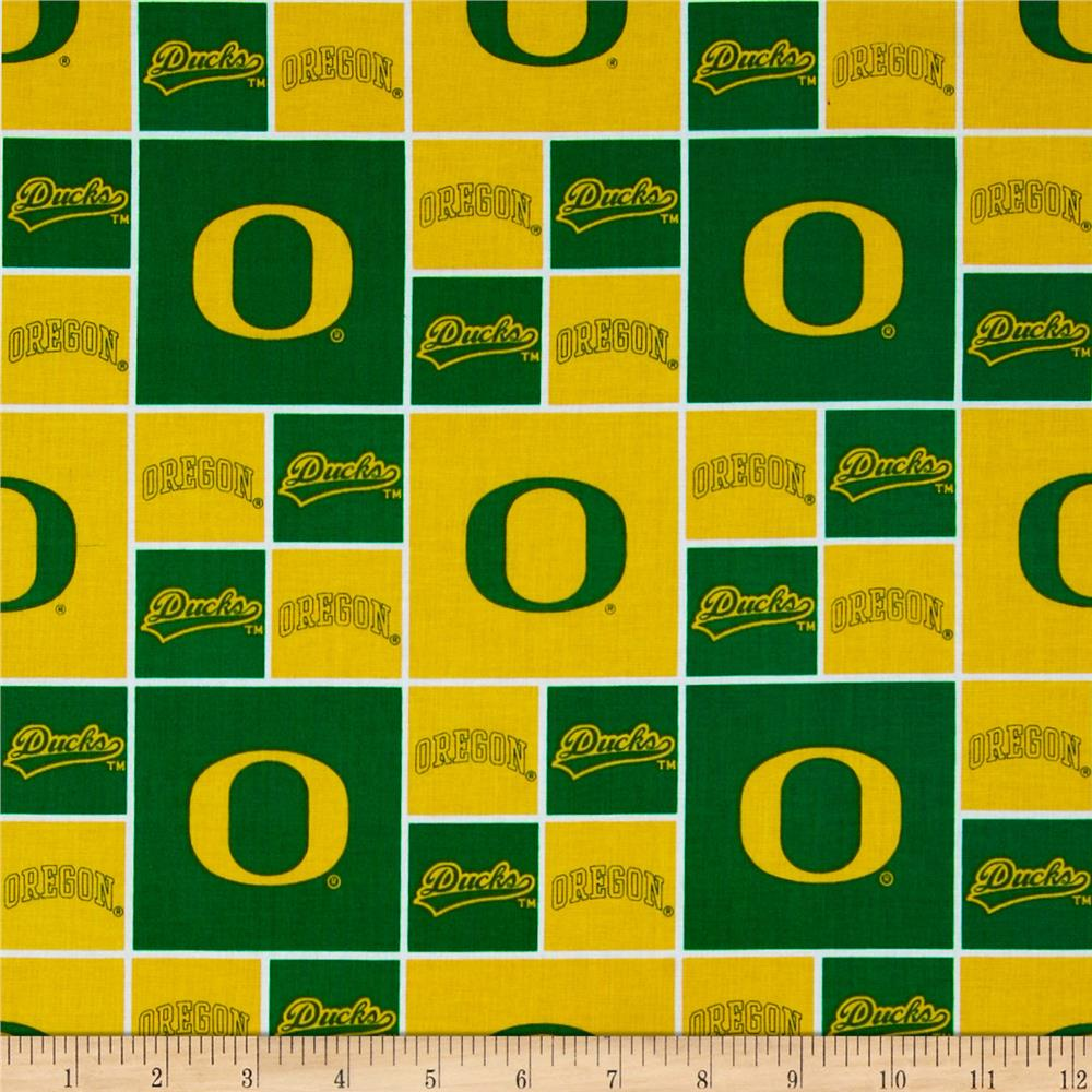 Collegiate Cotton Broadcloth University of Oregon Yellow Fabric By The Yard