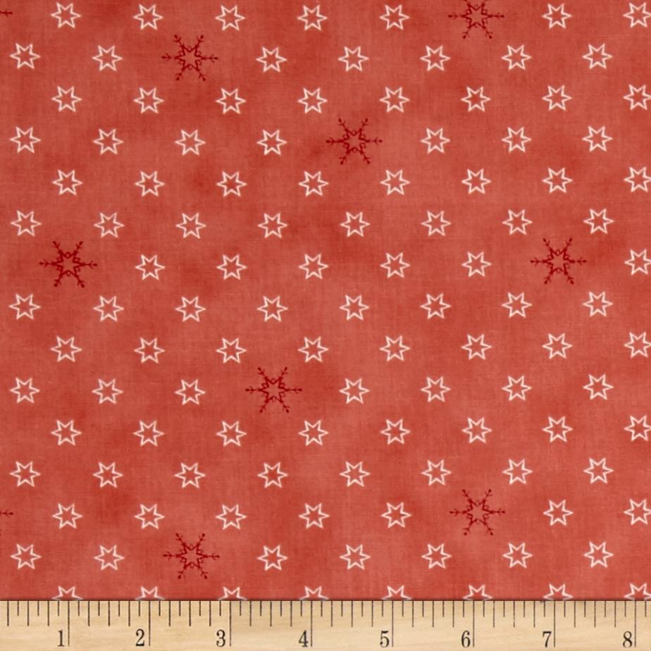 Silent Christmas Stars & Snowflakes Red Fabric By The Yard