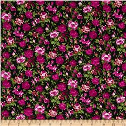Spring Jersey Knit Floral Fuschia/Black