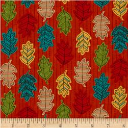 Moda Forest Fancy Falling Leaves Harvest Orange