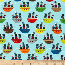 Riley Blake Treasure Map Flannel Treasure Boats Blue