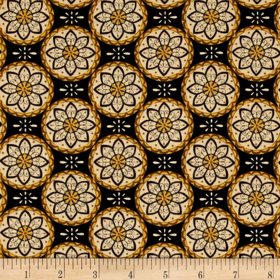 Moda Bee Creative Flower Medallions Ebony