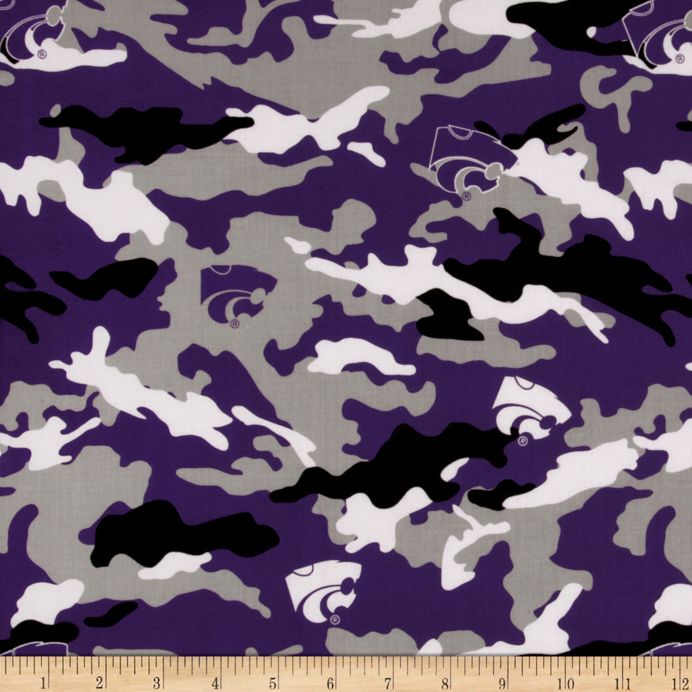 Collegiate Cotton Broadcloth Kansas State University Camouflage