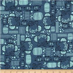 Flannel Mama & Baby Elephants Navy