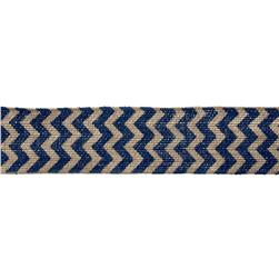 "2 3/8"" Burlap Trim Chevron Navy Blue"