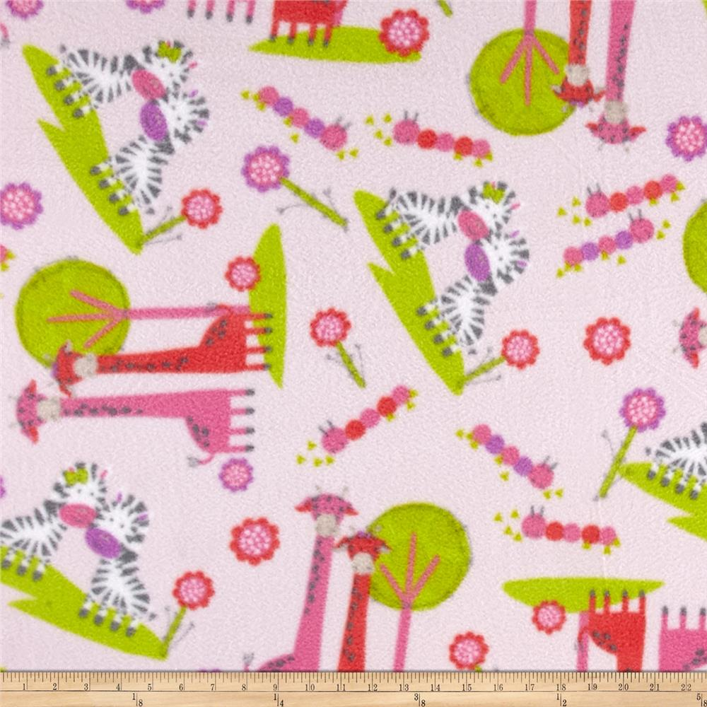 Zebra and Giraffe Pals Fleece Pink Fabric By The Yard