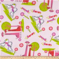 Zebra and Giraffe Pals Fleece Pink