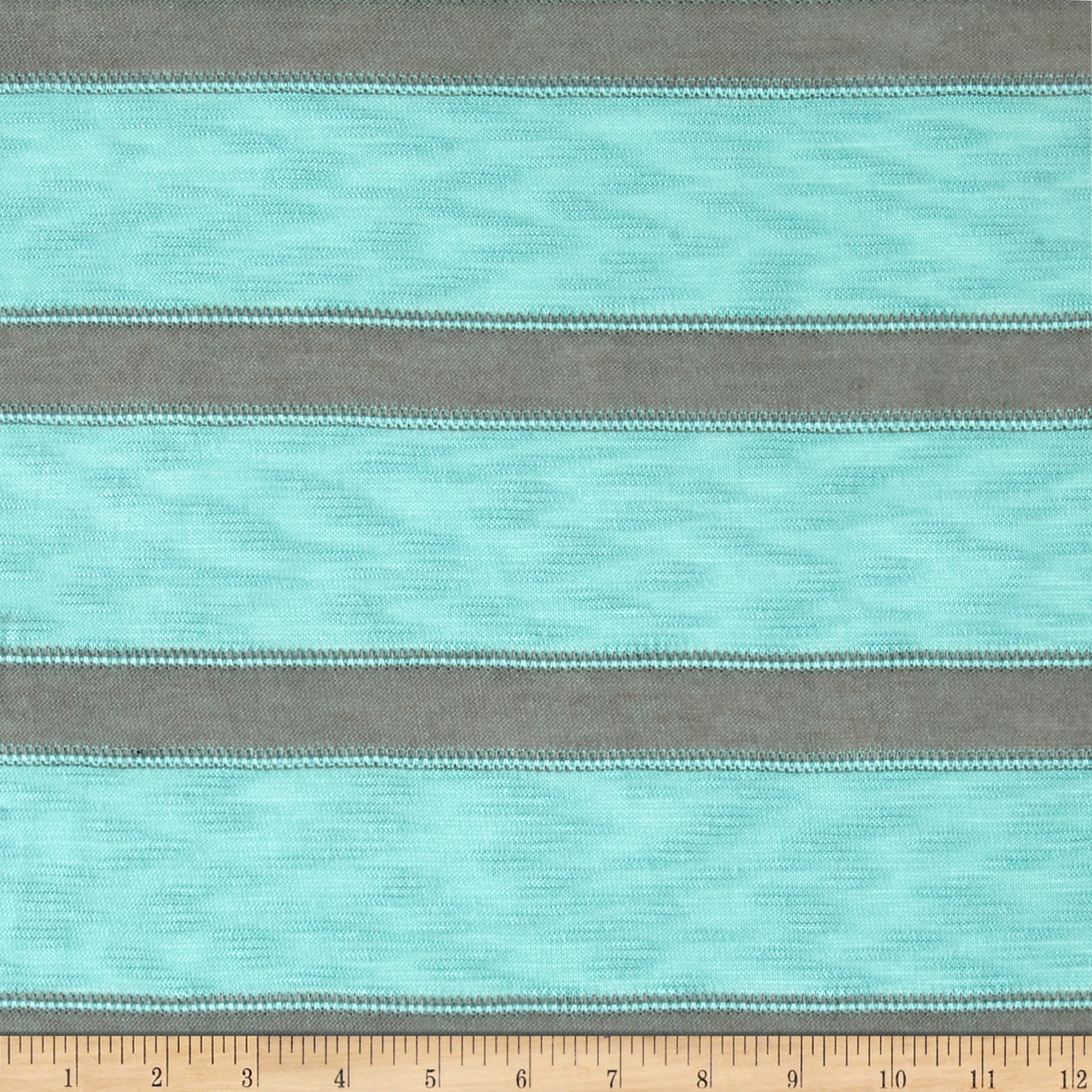 Lightweight Sweater Knit Gray/Turquoise Fabric by Bellagio in USA