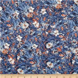 French Designer Rayon Challis Tropical Floral/ Leaves Blue/Orange