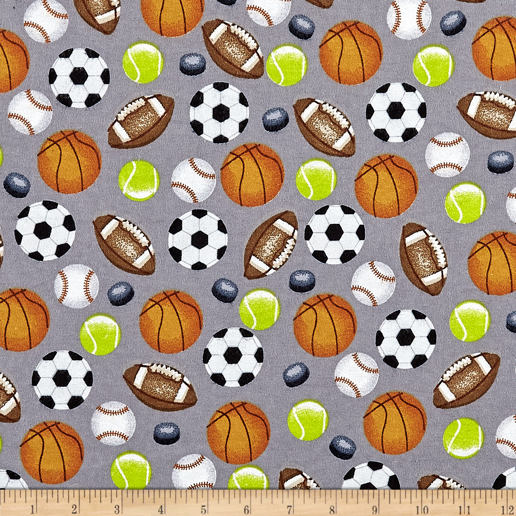 INOpets.com Anything for Pets Parents & Their Pets Sports Allover Flannel Grey Fabric