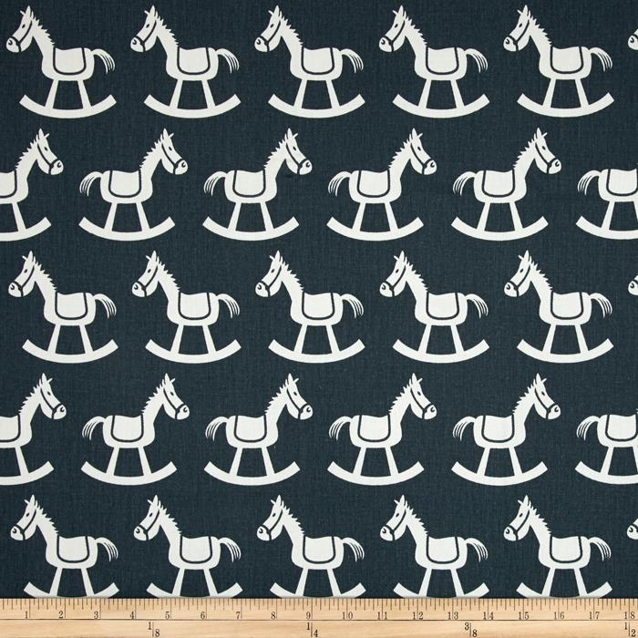 Premier Prints Rocking Horse Twill Gunmetal/White