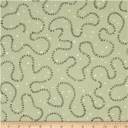 Word Play Trailing Words Green Fabric