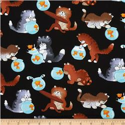 Cats Black Fabric