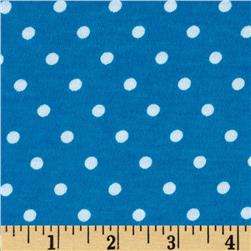 Cotton Jersey Knit Polka Dots Blue/White Fabric