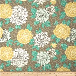 Tempo Indoor/Outdoor Cathy Floral Taupe/Teal Fabric