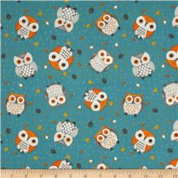 Debbie Mumm Cute Critters Owl Toss Blue Fabric