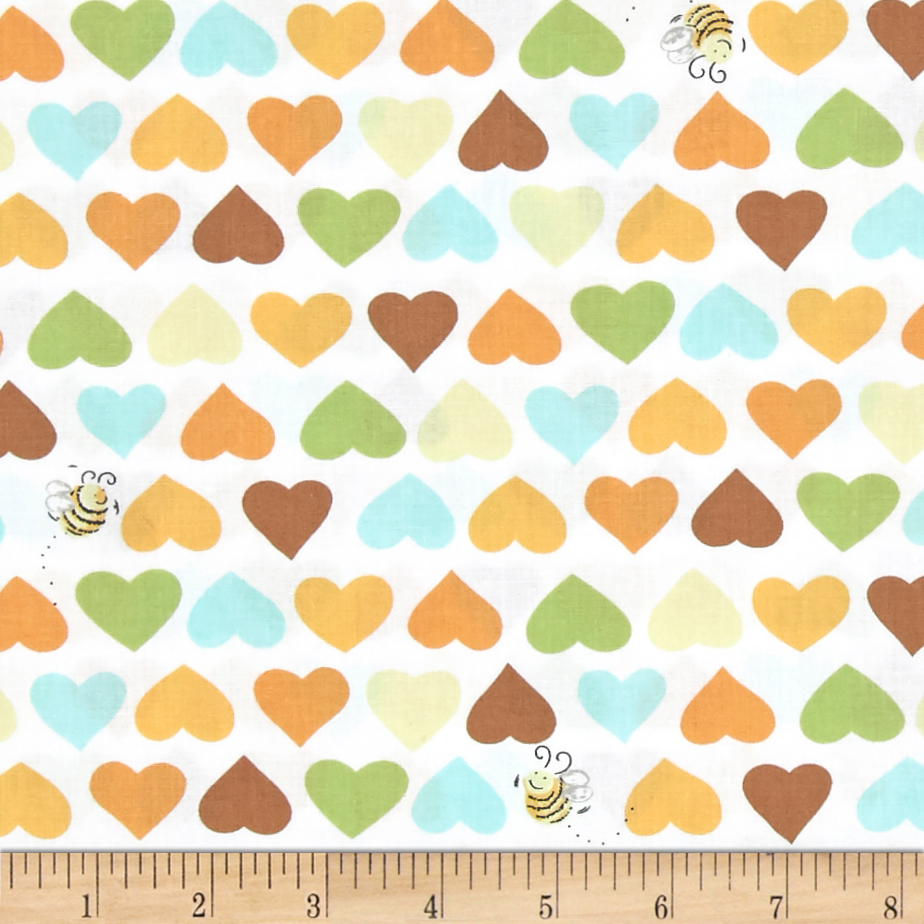 Susybee Zoe the Giraffe Hearts and Bees White-Multi Fabric by Susybee in USA