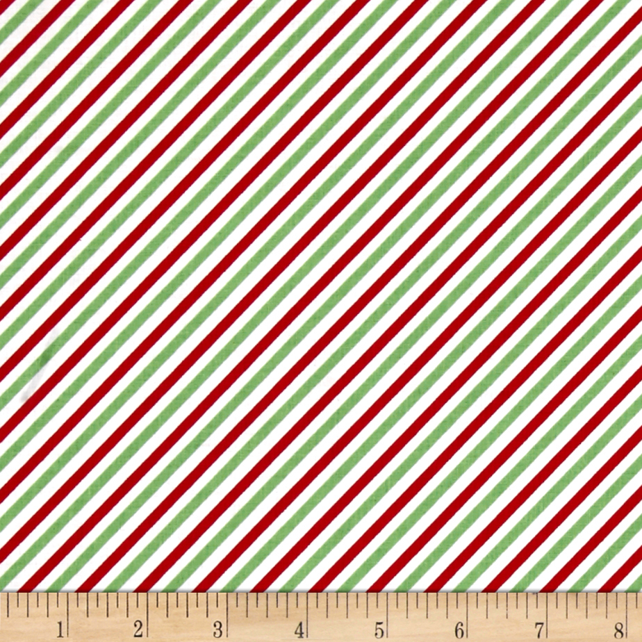 Riley Blake Pixie Noel Stripe Green Fabric By The Yard by Christensen in USA