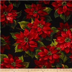 Michael Miller Scarlet Poinsettia Black Fabric
