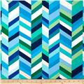 Kaufman Geo Pop Home Decor Canvas Stripe Lagoon