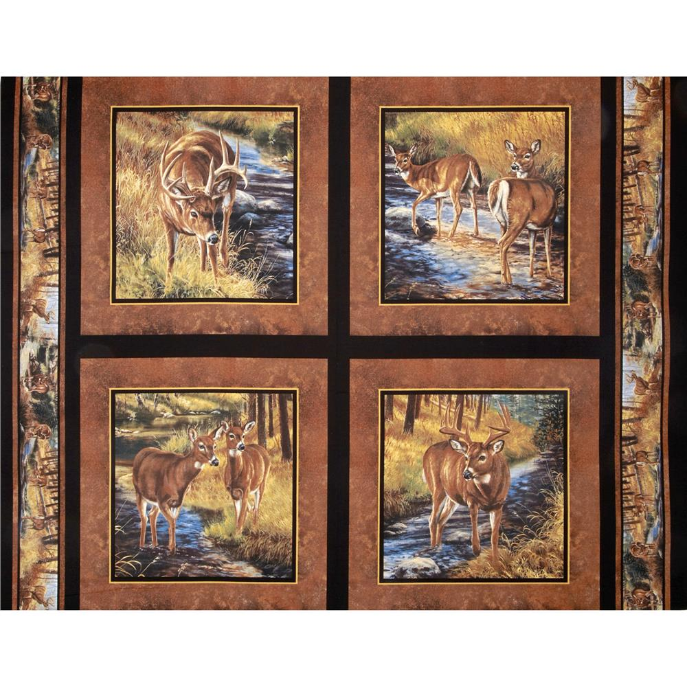 Wild Wings Stoney Brook Deer Pillow Panel Brown