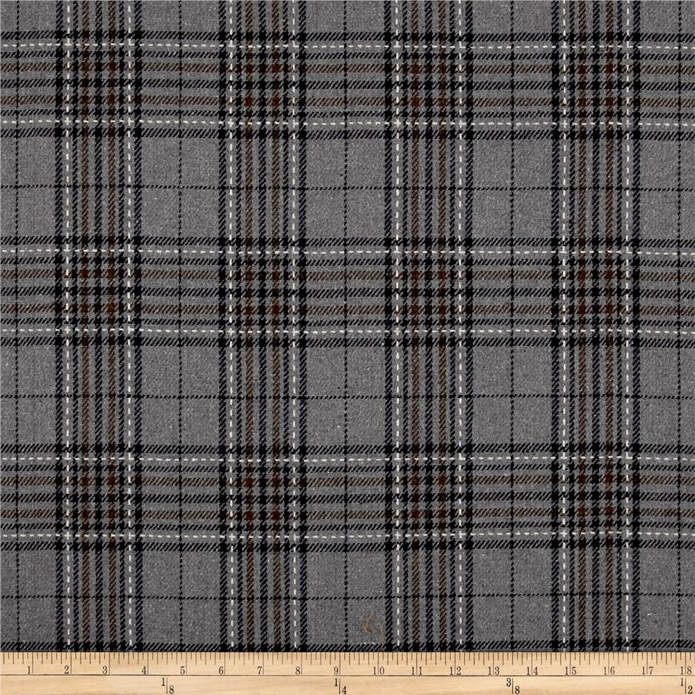 Washable Wool Blend Plaid and Stitch Grey/Black/Brown