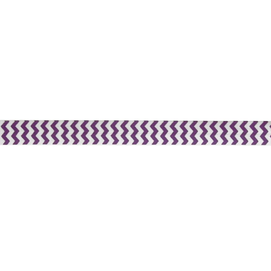 "5/8"" Fold Over Elastic Chevron Purple"