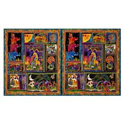 "Laurel Burch Mythical Jungle Metallic 23.5"" Panel Black Metallic"