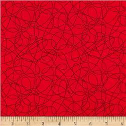 Breezy Blooms Scribble Dot Red Fabric