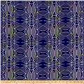 Crepe De Chine Geometrics Navy/Purple/Yellow