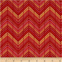 Sweet Tweet Zig Zag Red Fabric