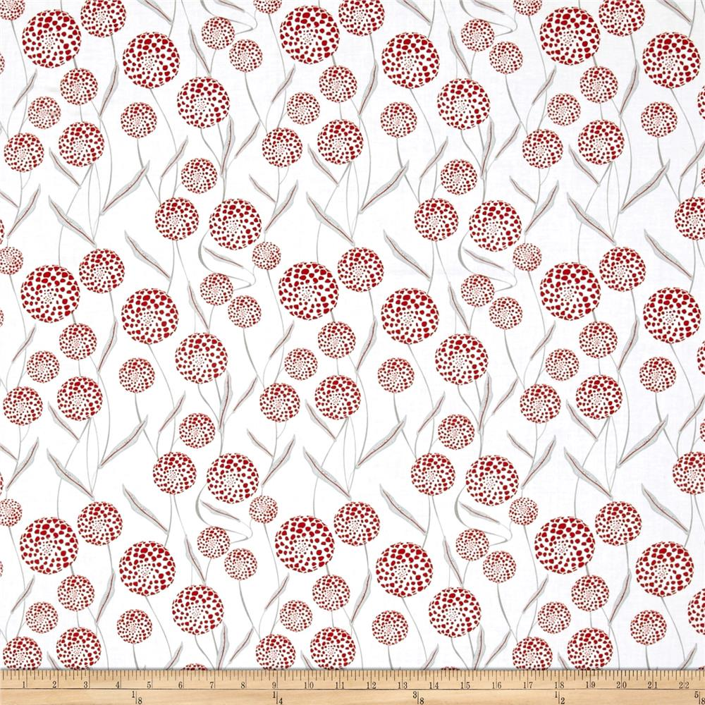 Cherry Pop Queen Anne's Lace White Fabric