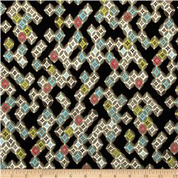 Kanvas Sakura Metallic Sakura Diamonds Black Fabric