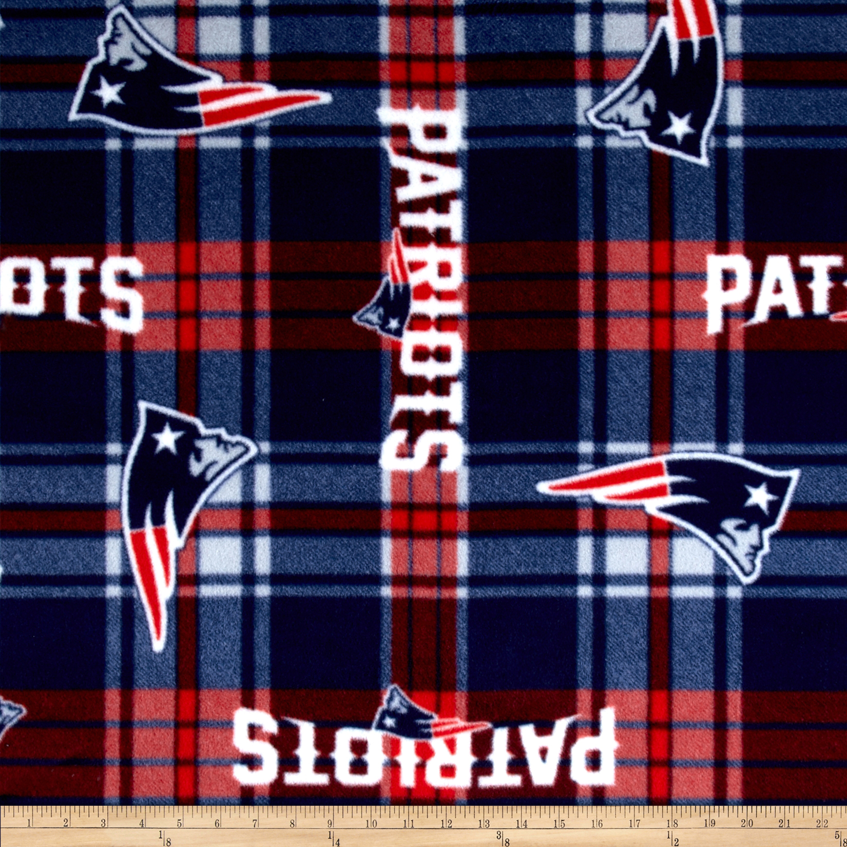 NFL Fleece New England Patriots Plaid Red/Blue Fabric