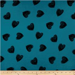 Jersey Knit Heart Print Turquoise