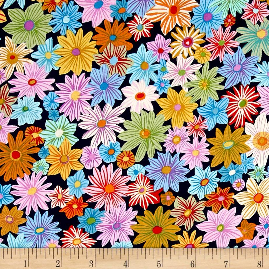 Michael miller our yard daisy garden midnite discount for Purchase fabric by the yard