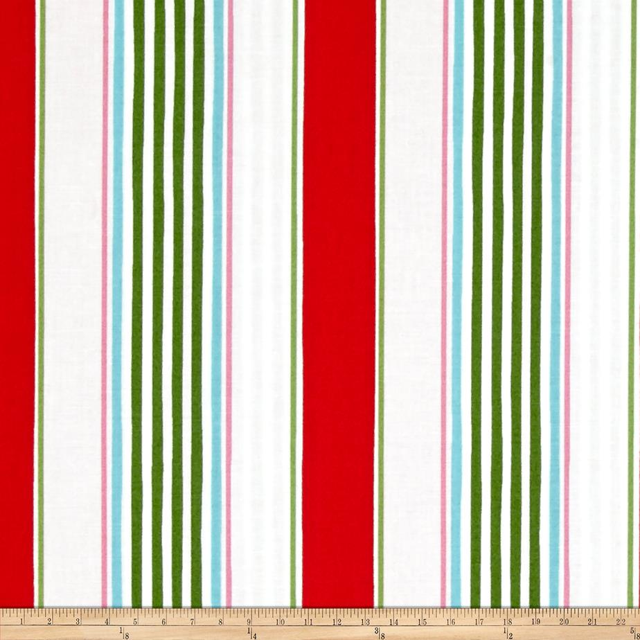 Merry Mistletoe Linen Stripe Red Fabric