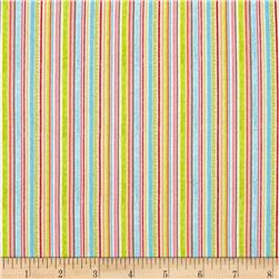 Riley Blake Happy Flappers Stripes Blue Fabric