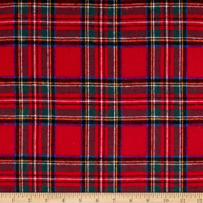 Yarn Dyed Flannel Plaid Red Fabric By The Yard