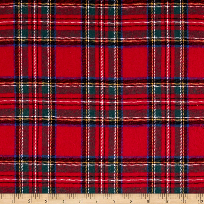 Yarn Dyed Flannel Plaid Red Fabric by Newcastle in USA