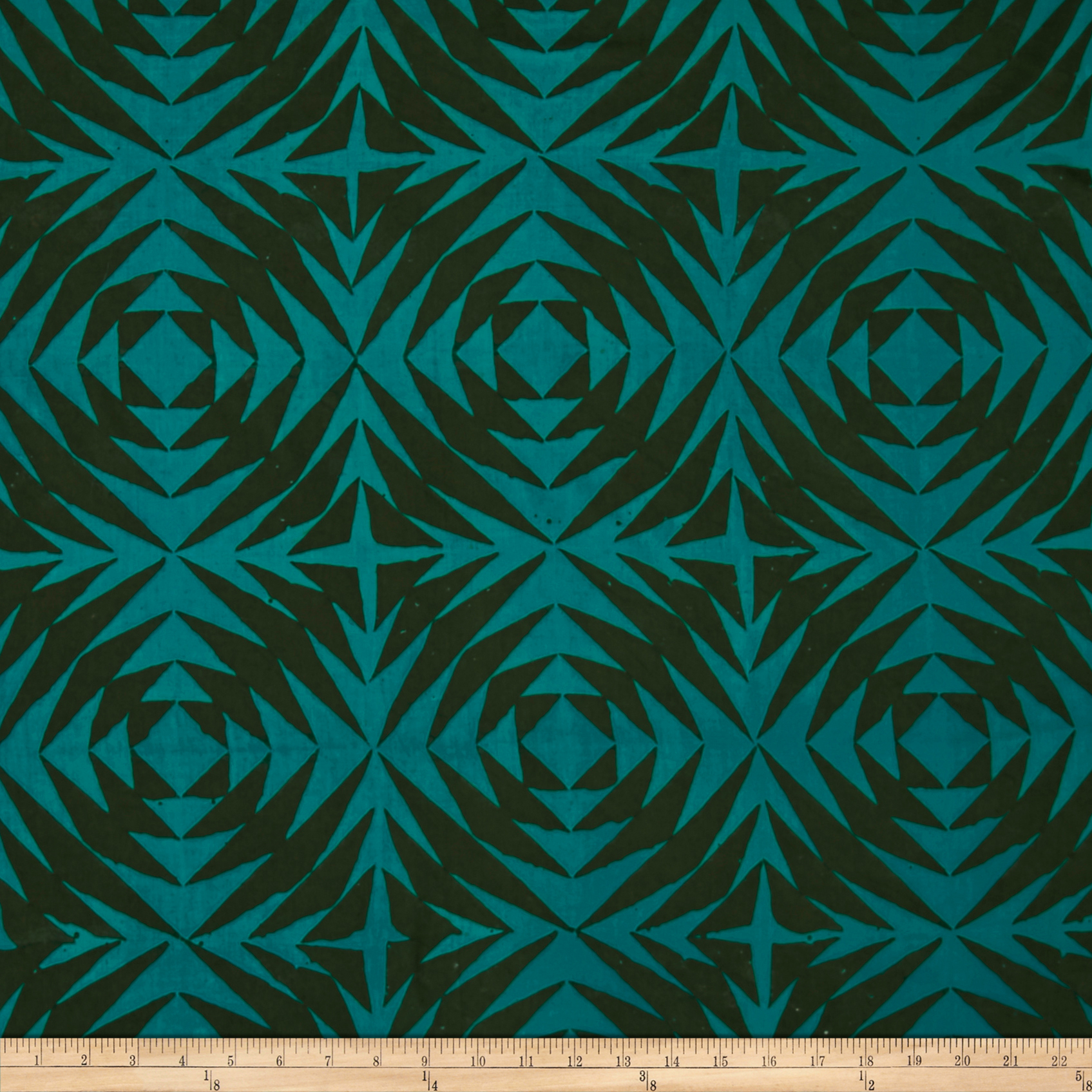 Image of Alison Glass Handcrafted Patchwork Batik Pineapple Lagoon Teal Fabric