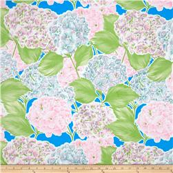 Oil Cloth Lille Hydrangea Blue Fabric