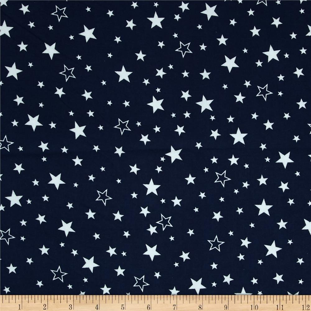 Kaufman Cozy Cotton Flannel Stars Navy
