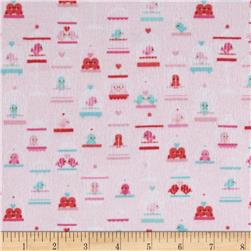 Riley Blake Lovey Dovey Flannel Birdcages Pink Fabric