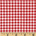 Telio Morocco Blues Stretch Cotton Shirting Gingham Print Red/White