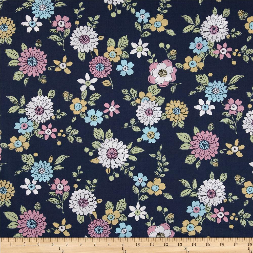 Kaufman Lennox Gardens Cotton Lawn Small Floral Navy