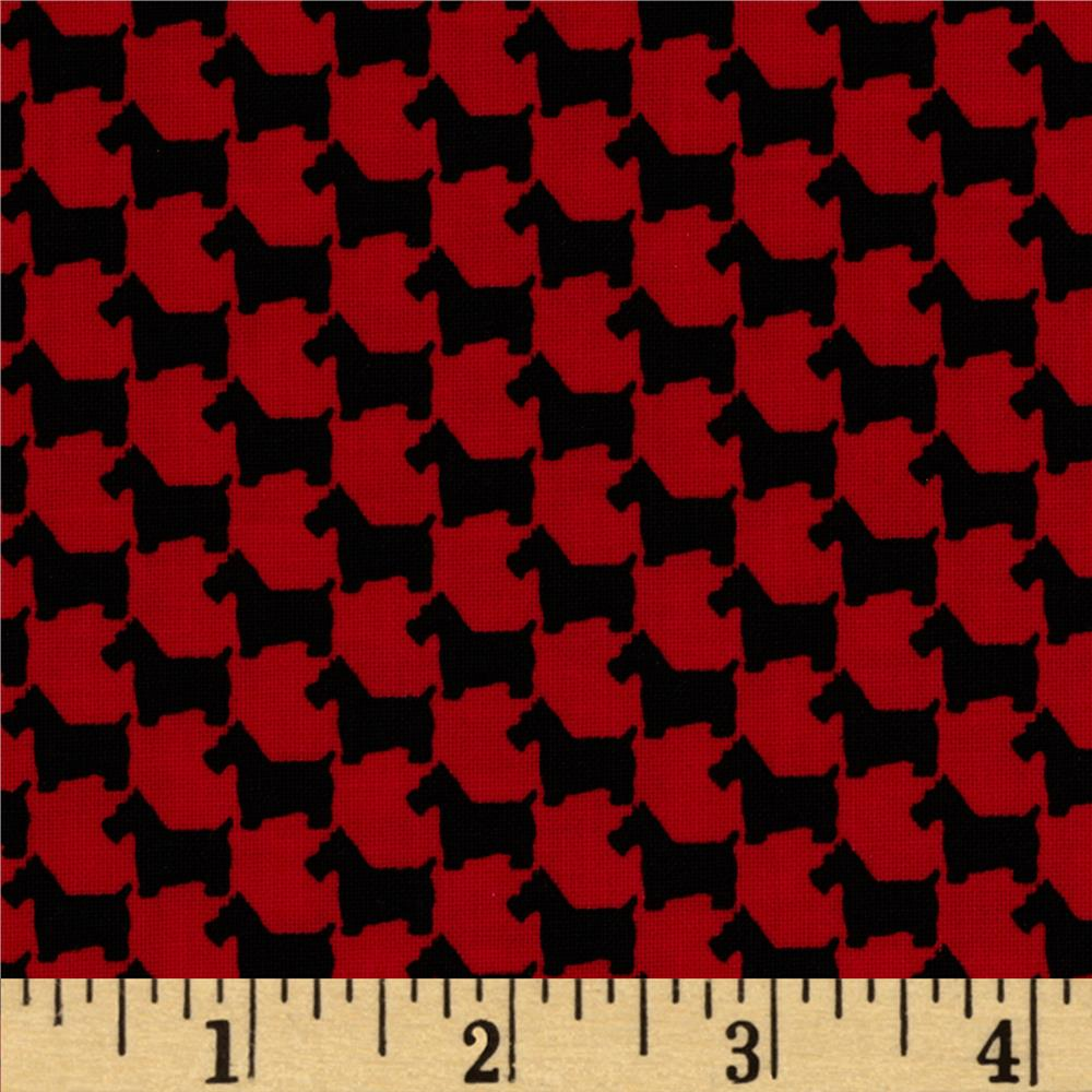 Michael Miller Scottie Houndstooth Red